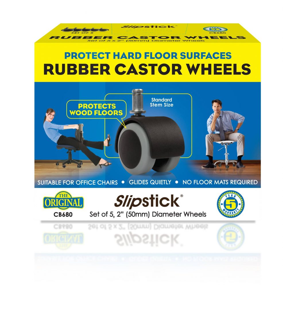 Black//Gray Pack of 5 CB680 Caster for Chair 2 Inch Rubber Office Wheels Standard Stem Size for All Floors Including Hardwood